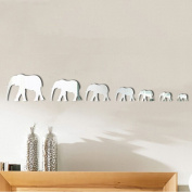 Souarts Removable Silver 7 Cartoon Elephants Patern Plastic Mirror Wall Stickers for Home Living Room Decoration