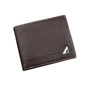 Tianfuheng Men's Fashion Faux Leather Short Wallet Durable Bifold Cash Card Photo Coin Holder