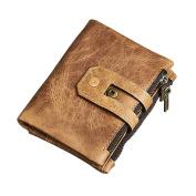 good01 Men's Vintage Genuine Leather Short Business Wallet Zipper Purse Card Holder