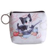 good01 Women Girls Mini Zipper Wallet Cute Dog Cat Pattern Clutch Short Coin Purse