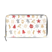 Womens Christmas Colourful Pattern Long Wallet & Purse Case Card Holder