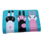 Albeey Short Style Purse Foldable Cartoon Three Cats Pattern Card Wallet