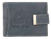 Men's Hunter Style Grey Strong Genuine Leather Wallet with Motorbike