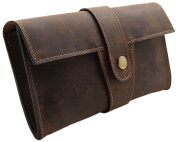 Hunter leather pencil case with strap push-button in brown