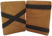 Washed cowhide universal magic credit card case and wallet MJ-Design-Germany in cognac
