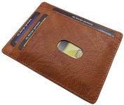 Extra flat washed cowhide XL ID and credit card holder MJ-Design-Germany in cognac