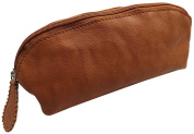 Big washed cowhide pencil case with zipper MJ-Design-Germany in cognac