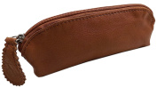 Washed cowhide pencil case with zipper MJ-Design-Germany in cognac