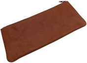Washed full-cowhide pencil case with zipper MJ-Design-Germany in cognac