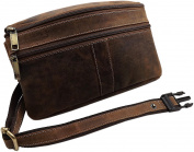 Buffalo full leather waist bag in landscape format in brown