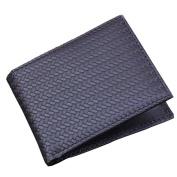 HCFKJ Fashion Men's Woven Purse Folded Flat Zipper Purse Card Holder Storage Clutch Wallet Teen