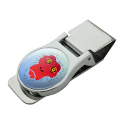 Snow Monkey Face Red Satin Chrome Plated Metal Money Clip