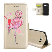 Galaxy J5 (6) Case Folio, Aeeque Premium PU Leather Flip Stand Function Magnetic Clasp Wallet Holster and Lovely Animal Flamingo Pattern for Samsung Galaxy J5 2016 13cm - Gold