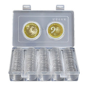 Coin Collecting Storage, 100pcs 30mm Round Round Coin Case Storage Box, Plastic Coin Collection Holder, Acrylic Coin Display Case Organiser Container for Collectors