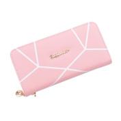 Tianfuheng Women's Fashion Long Wallet Geometric Pattern Faux Leather ID Card Case Holder Clutch