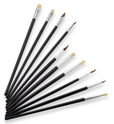 Detail Paint Brushes - Value Set W/ Wooden Handles - 10 Pack for Any Professional Paint Job, Oil Stain, Watercolour, Art & Craft Project; Use for Professional & Amateur Projects - By Katzco