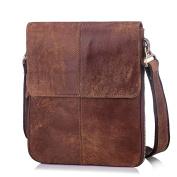 Men's Genuine Cowihde Leather Casual Satchel Crossbody Slim Folding Shoulder Messenger Bag - Brown