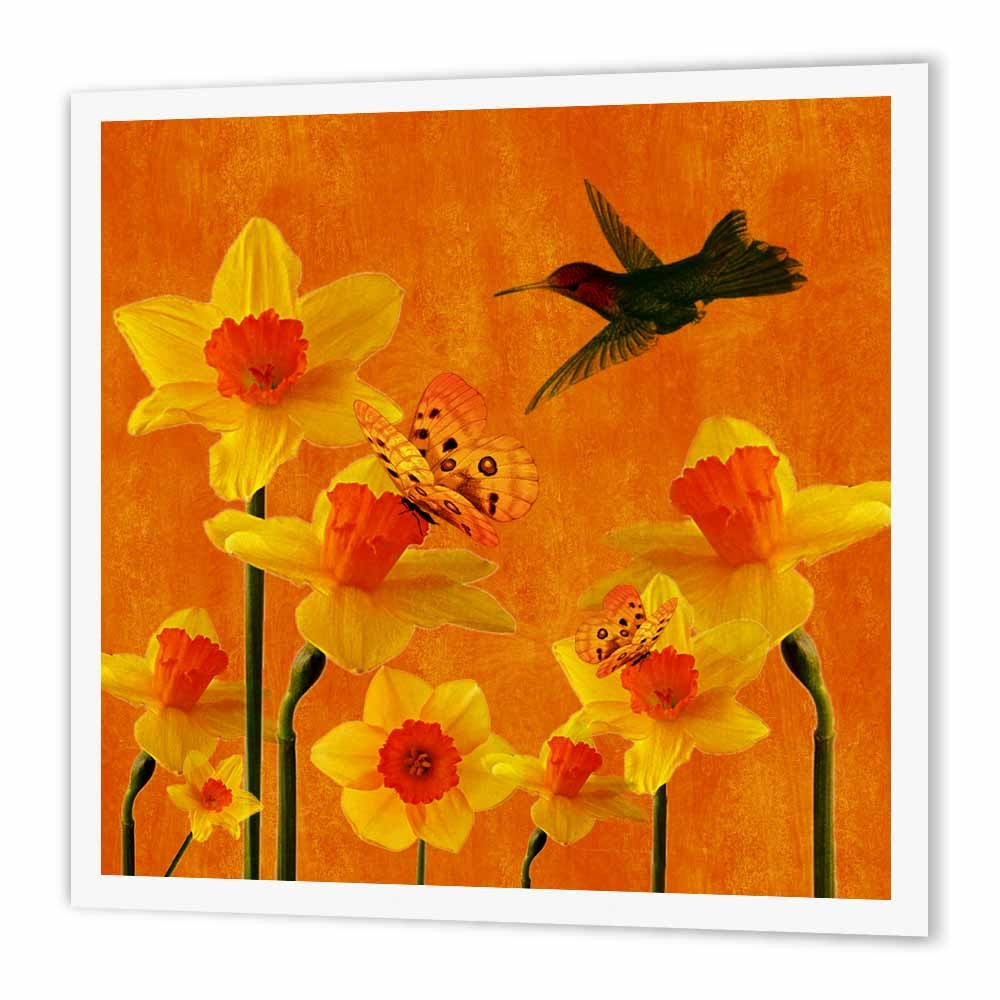 3drose Daffodils Marchs Birth Flower With Butterflies And