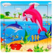 Hunpta Wooden Puzzle Educational Developmental Baby Kids Training Toy 15CMX15CMX0.5CM