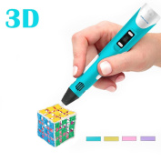 Printing Drawing Pen 3D Intelligent, Drawing Stereoscopic Doodling Printers, Doodle Puzzle Toy For Kids and Adults, with 1 UK Adapter, 3 Colours PLA Filament Refills, Second Generation Printing Pen