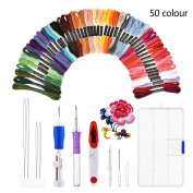 Magic Embroidery Set, BASEIN Embroidery Stitching Punch Needles Craft Tool Set Combination Including 50 Colour Threads for DIY Sewing Cross Stitching
