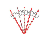 50th Party Straws - Glittery Silver and Red Straws - Pack of 10 - 50th Birthday Straws