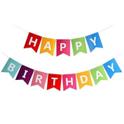 Happium - Happy Birthday Bunting Banner with Gold Letters