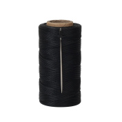 Tenn Well Waxed Thread, 300m 150D 1MM Flat Sewing Waxed String with Needles for Leather DIY Project