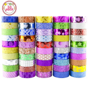 Glitter Washi Tape, Buluri 50 Rolls Washi Masking Tape Glitter Decorative Tape Adhesive for Scrapbooking DIY Crafts