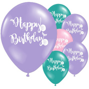 10 Happy Birthday Mermaid Children's Party Latex Printed Lilac Turquoise Balloons