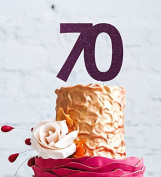Number 70 Cake Topper Large - 70th Birthday Cake Topper - Glitter Dark Purple