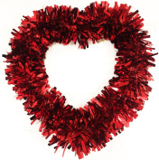 RED Heart Tinsel Wreath 32cm Valentine's Day Deluxe Shapes Door Wall Hanging Decoration Christmas Festive Wedding