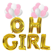KUNGYO Baby Shower Decorations for Girl-Giant OH GIRL Balloon-100cm Mylar Balloon in Letters O-H-G-I-R-L and 20 PCS Pink & White Latex Balloons,Perfect Party Supplies for Hanging Indoor/Outdoor