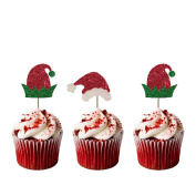 Christmas Elf Hat and Santa Hat Cupcake Toppers - Pack of 8 - Glittery Red and Green