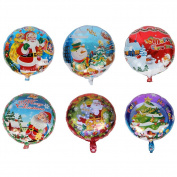 6 PCS Christmas Aluminium Foil Balloons, DesignerBox Christmas Santa Claus Xmas Trees Snowman Snowflake Balloon Party Supplies Decorative Props - Style Random