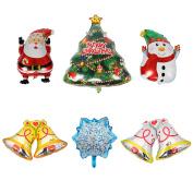 6 PCS Christmas Aluminium Foil Balloons, DesignerBox Christmas Santa Claus Xmas Trees Snowman Snowflake Bells Balloon Party Supplies Decorative Props