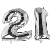 TRIXES Metallic Silver 100cm Number 21 Milestone Birthday Foil Balloons for Surprise Celebrations and Parties