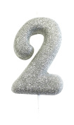 Age 1 Glitter Numeral Moulded Pick Candle Silver