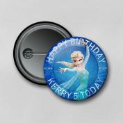 Disney Frozen Elsa (5.8cm) Personalised Pin Badge Printed in Hi-RES Photo Quality