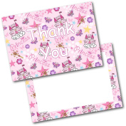 *NEW* Pack of 20 Thank You Thankyou Kids Princess Postcards Cards with Envelopes