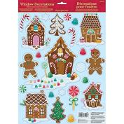 Amscan International 241915 Window Gingerbread House Sticker