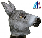 MASCARELLO®Donkey Mask, Latex Animal Head Party Costumes Halloween Cosplay Fancy Dress
