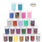 Xshelley Glitter Shakers for Children Kid's Craft Activities,Arts & Crafts Glitter,Card Making,Decorating,24 Assorted Colours