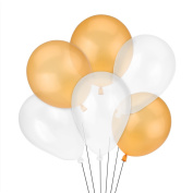 Syndecho 30cm Gold and Clear Latex Balloons Birthday Wedding Party Decorations,50pcs