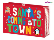 WOW Cute Kids Christmas Glitter Gift Bag with Santa Tag - XLarge