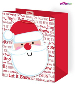 WOW Cute Christmas Glitter Gift Bag with Giant Santa Tag - Medium