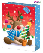 WOW Cute Christmas Glitter Reindeer Gift Bag with Christmas Wishes Tag - XLarge