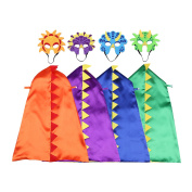 Happium - Dinosaur Costumes For Kids - 4 Capes, 4 Masks Birthdays Party Favours