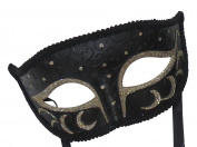 Mens Midnight Black & Light Gold Venetian Masquerade Carnival Ball Party Eye Mask