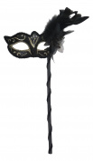 Mask & Co Ladies Quality Sparkling Black & Light Gold Feather Venetian Masquerade Party Ball Eye Mask - Hand Held on a Stick
